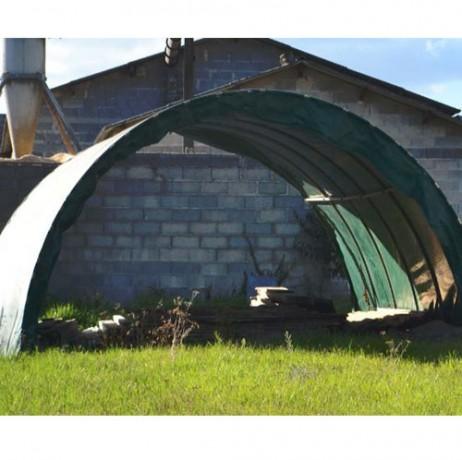 Abri tunnel renforcé - Largeur 4m50 - Pas rapprochés à 1m - Bâche Camion 640 g/m²