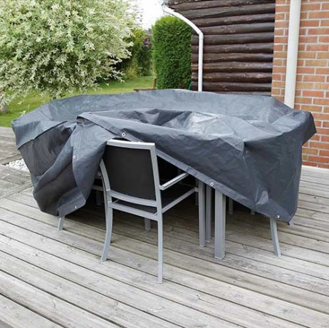 Housse de protection pour table ronde et chaises de jardin