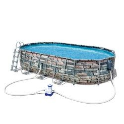 Kit piscine ovale Power Steel Frame Pools L 610 x l 376 x H 122 cm